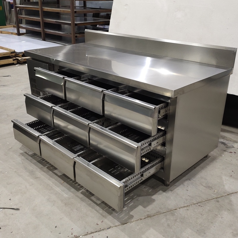 1.5m 1.8m stainless steel 110v 220v horizontal freezer fan cooling and refrigerating drawer operation table freezer