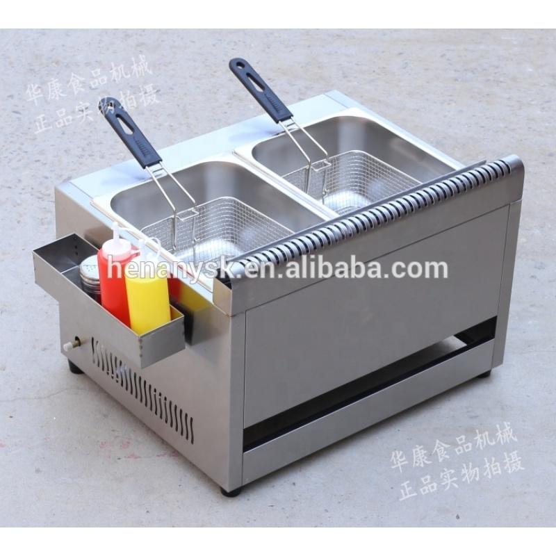 10L *2 Tank  LPG Gas Open Fryer Potato French fryer Machine with 1 Safety Valve