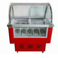 -18c 6 Barrel 10 Tank Hard Ice Cream Glass Icecream Machinery Freezers Display Cabinet Freezer Showcase