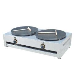 High Efficiency Desktop LPG Gas 2 Head Gas Crepe Maker Pancake Baking Machine
