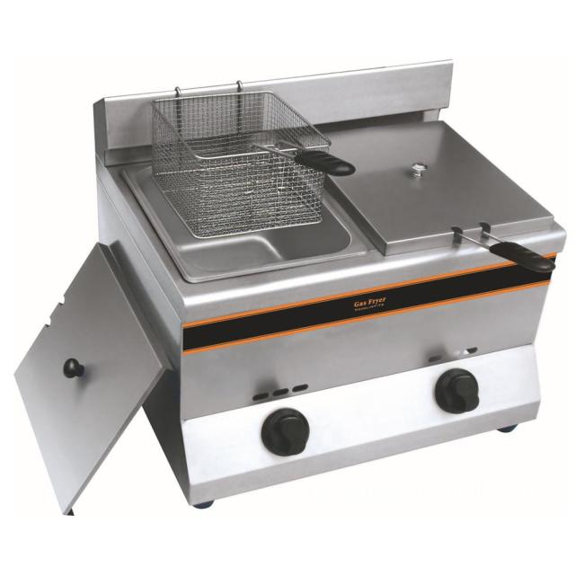 11L LPG Natural 2 Tank Gas Fryer Hot Selling Potato French Fries Chips Fryer Gas Frying Machine