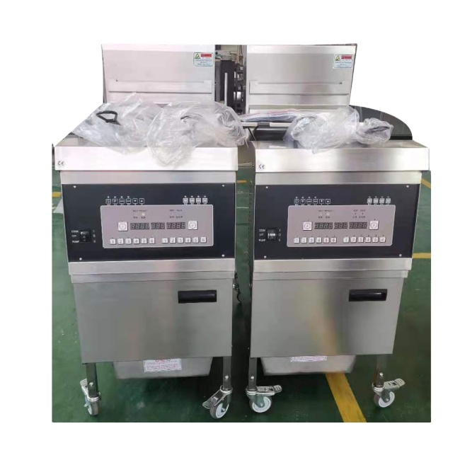 25L  Potato French Fries Chips Frying Deep Chicken Fryer Restaurant Open Fryer Machine Oil Filtration System 2baskets Computer