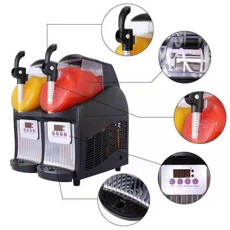 2.5L*2 Tank 5L Commercial Slush Snow Machine Mini Double Snow Melting Machine Desktop Cold Drink Juice Smoothie Machine