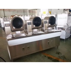 Industrial Robot Frying Vegetables Automatic Wrought iron Pot Fried Rice Cooking Rotating Cooktop