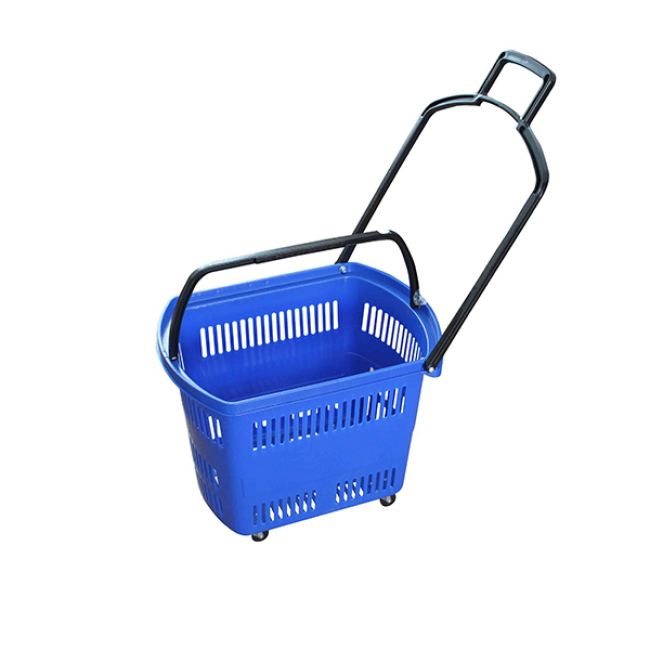 45L Whole Store Professional Supermarket Basket Turnover Trolley Wheel Shopping Baskets With Handle Wheels for Sale