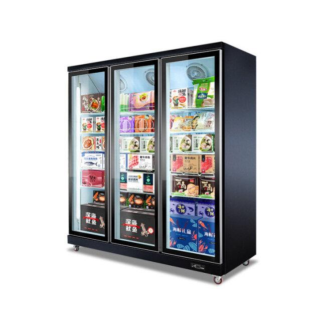 1 2 3 4-door Commercial Refrigerated Display Cabinet Freezer Milk Beverage  Showcase Vertical Glass Door Freezer Chiller