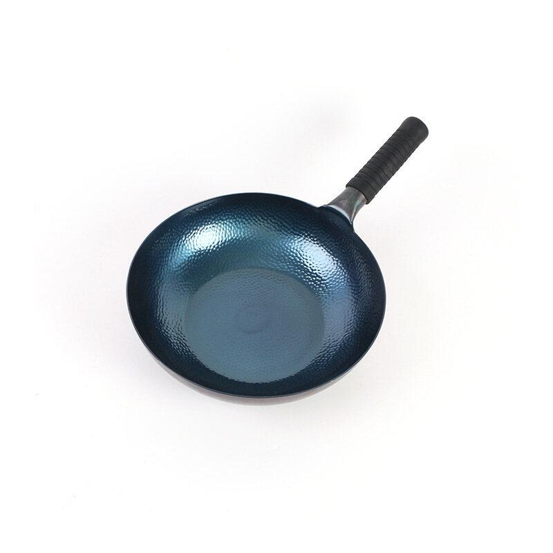 High Grade Saucepan Fish Scale Pattern Hand Forging Household Pan Frying Pan Uncoated Non Stick Pot Wholesale Zhangqiu Iron Pot