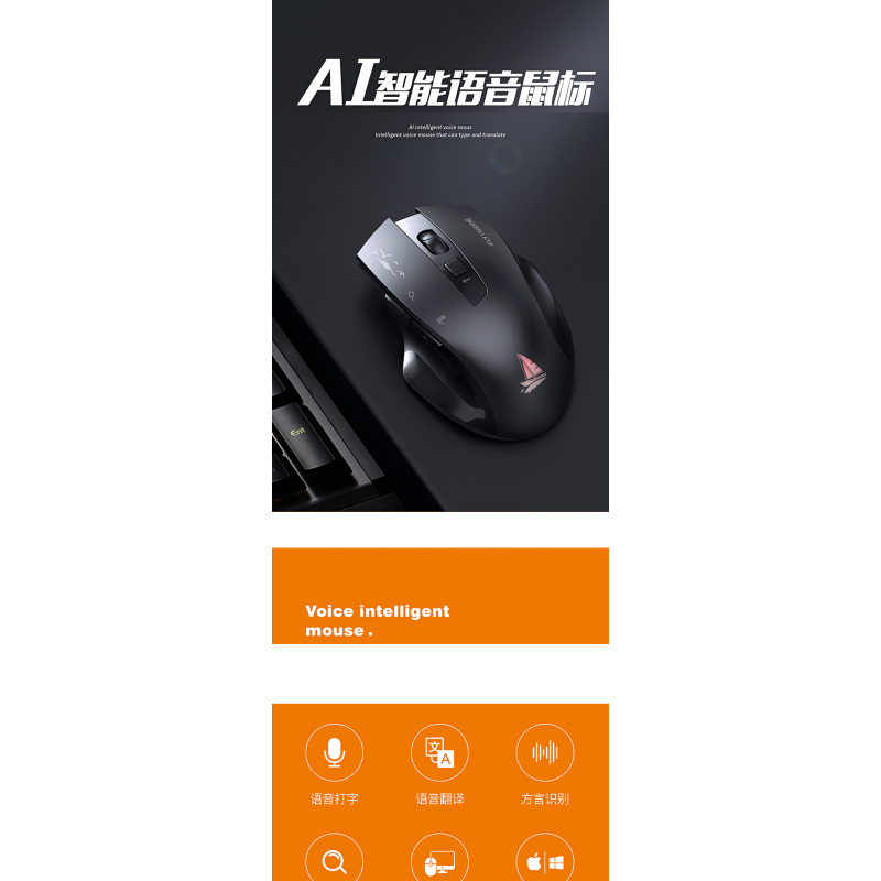 28 Languages Smart 2.4 Ghz  Wireless Rechargeable Mouse Translator Fast Speed Multi Language Conversion Translation Voice Mouse