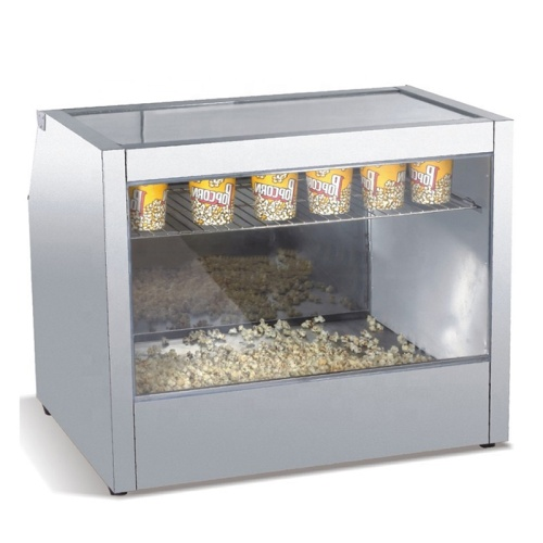 IS-OY-HO828 Luxurious Uniform Heating Stainless Steel Popcorn Glass Food Warmer Display Showcase