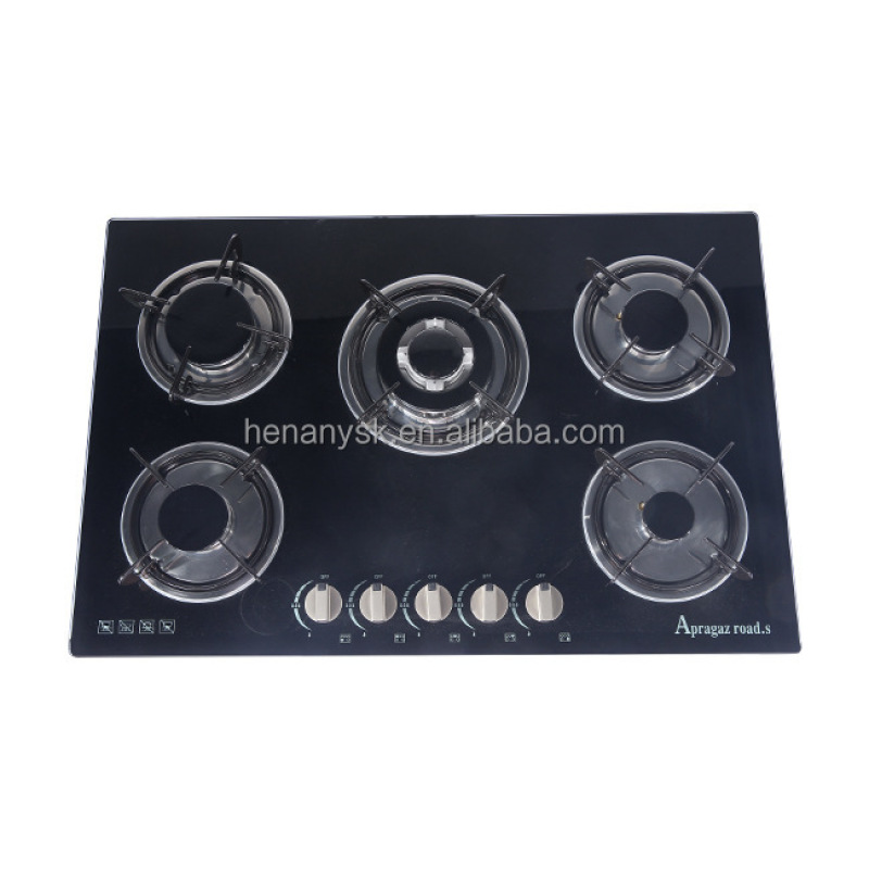 5 Burners Toughened Glass Butane Gas Stove Domestic Blast Furnace Natural Gas Liquefied Cooking Gas Range Kitchen Appliances