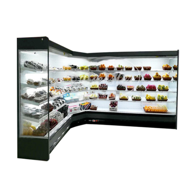 2500mm *2 Designer open Deli showcase chiller/Supermarket display refrigerator/corner Upright cabinet fridge shop