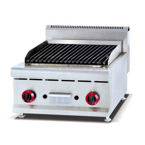 GB-589 Stainless Steel Counter Top Gas Lava Rock Grill Griddles