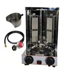 Mini Gyro LPG Gas Grill Machine 2 Burners Vertical Broiler Shawarma Doner Kebab Machine Middle easy Roaster oven