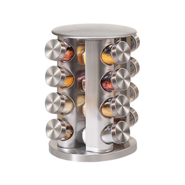 Tins For Spices 430 Stainless Steel Glass Rotary Seasoning Can Set Wholesale Salt And Pepper Shaker Kitchen Spice Jar Glass
