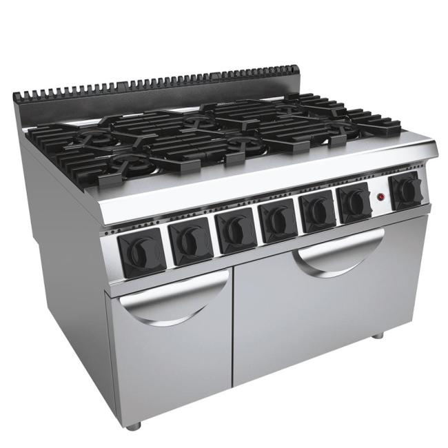Western Kitchen Machines 6 Burners Gas Cooking Range with Gas Oven Multifunction Cooker Equipment