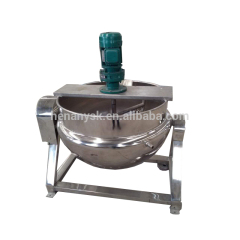 Jacketed Kettle Sauce Industrial Steam LPG Natural Gas Tilting Cooking Pot Round Type Gas Cooker With Mixer