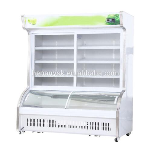 Glass Door Freezer Refrigerator Combined Machine  Fruits and Vegetables Supermarkets Fridge