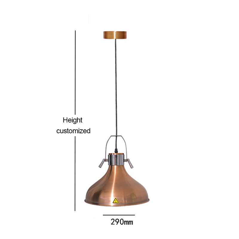 High Quality Hanging Copper Color Food Warmer Lamp