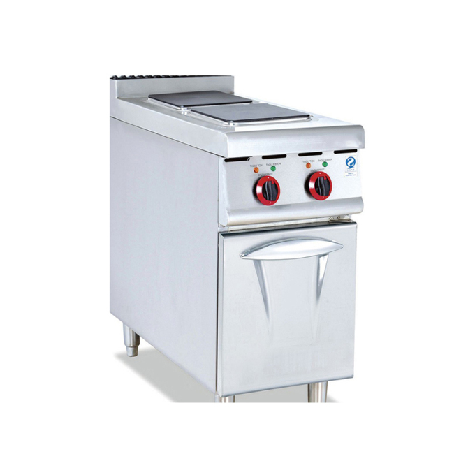 IS-EH-877 vertical electric 2-heads cooking stove with cabinet high power square electric cooking furnace