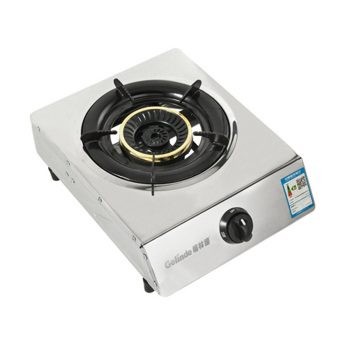 NG LPG Gas Stove Desk Type Stainless Steel Single Head Gas Stove Household Flameout Protection V-chip Energy Saving Wholesale