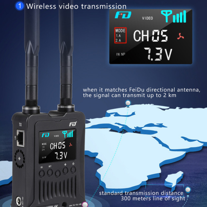 FWT-300Pro Wireless wired Video Transmitter Receiver 300m 4K Video Transmission System