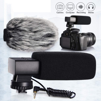 Vloggear smicrophone MIC-02 Aluminum Alloy Camera Microphone Condenser Recording Microphone 3.5mm MIC