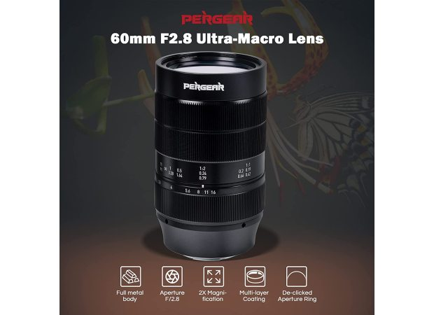 Objectif sans miroir Pergear 60 mm f/2.8 ultra-macro à grossissement 2X