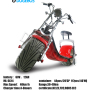 Cheap Electric citycoco New Chinese Bicycle Red Electric Motorcycle Scooter With Removable Battery and brushless motor