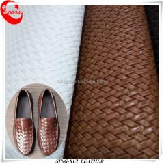 Модные стильные туфли из синтетической искусственной кожи с узором плетения для мужчин
