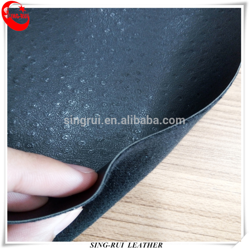 Ostrich Grain Embossed Synthetic PU PVC Leather Shoes For Handbag