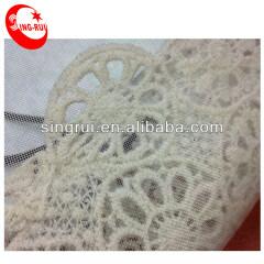 Французская вязанная крючком ткань шнурка Белая кружевная ткань
