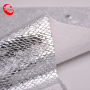Silver Foiled Plaid PU Synthetic Leather Metallic Color For Shoes
