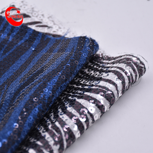 Wholesale Color Change Fancy In Stripe Design New Organza Lace Velvet Fabric Sequin Mesh Fabric With Sequins For Shoe Bag