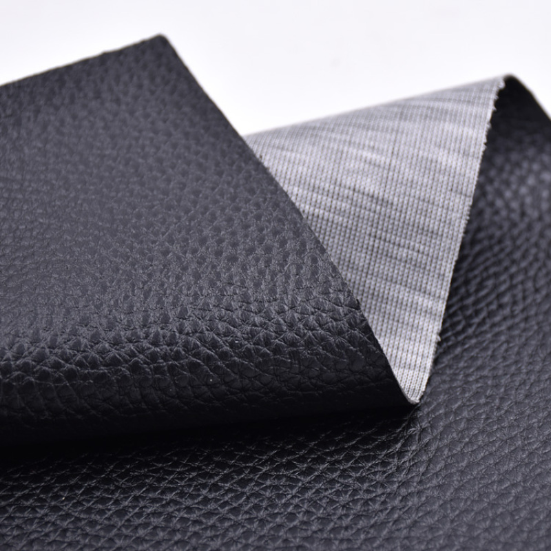 Classic PVC Artificial Leather Litchi Embossed Pattern Black Color for Sofa