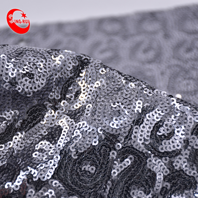 High Quality Double Sided Reversible Embroidery Holographic Silver Black Blue Gradient Mesh Sequin Velvet Fabric For Shoe Bag Dr