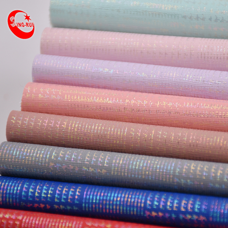 Soft Color Gold Lattice Texture Synthetic Leather Roll Pu Leather Fabric