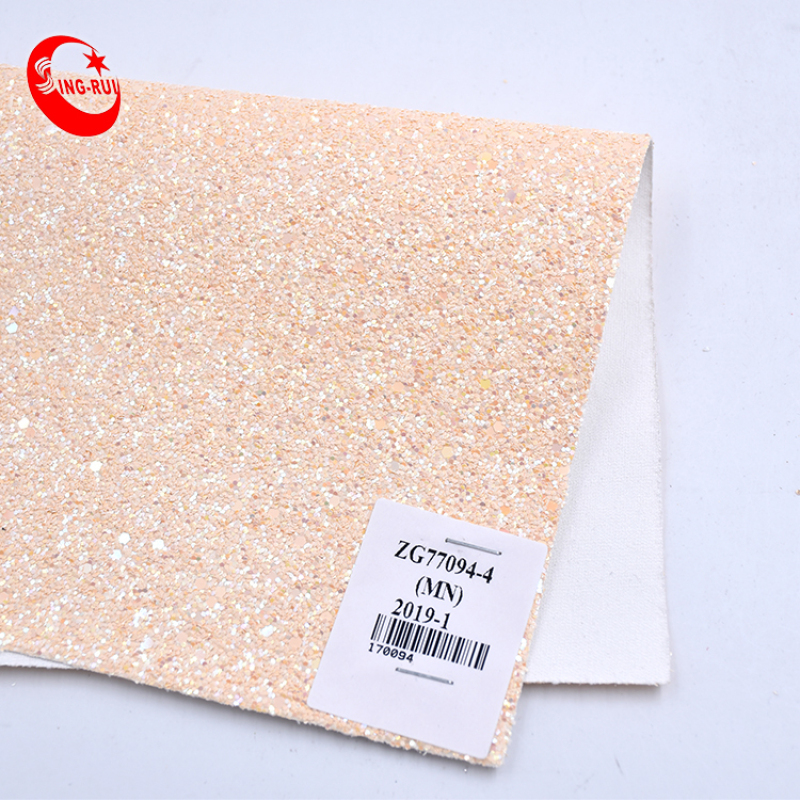 Low Moq Classic Candy Colors Good Handfeeling With Find Grain Shiny Glitter Pu Leather Chunky Materials For Bags Shoes
