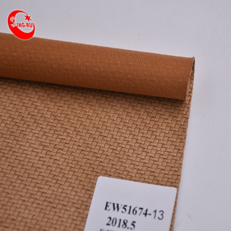 Weave Pattern PU Cotton Synthetic Leather Fabric
