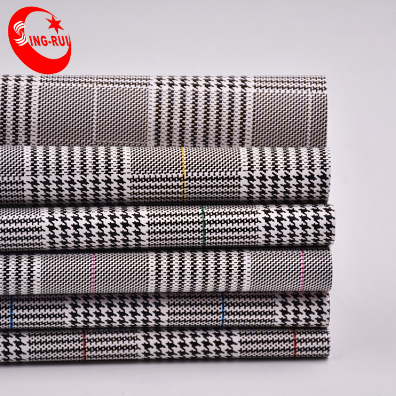 Classic Houndstooth Pattern Printed PU Synthetic Leather For Bag