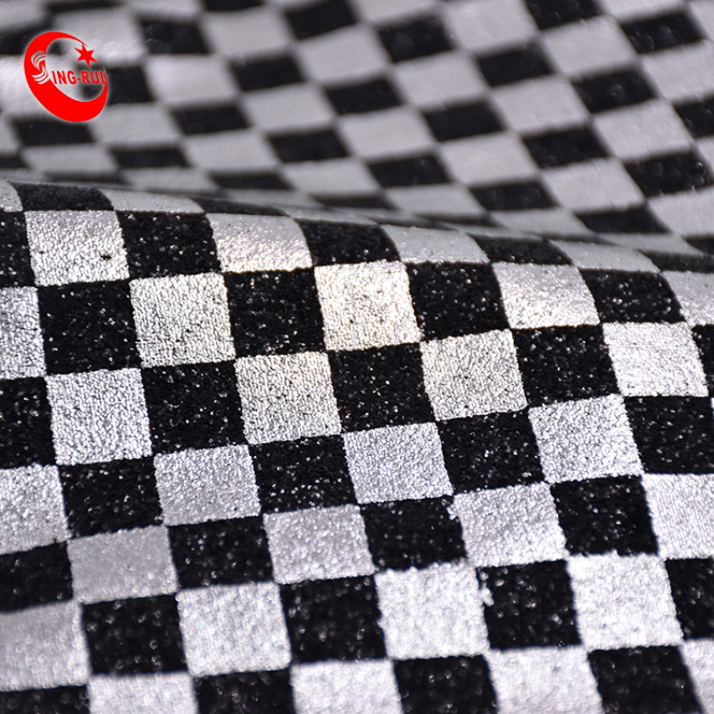 Colorful Square Black White Colour Design Shiny Fine Velvet Glitter Synthetic Pu Leather Fabric For Making Shoes Bags