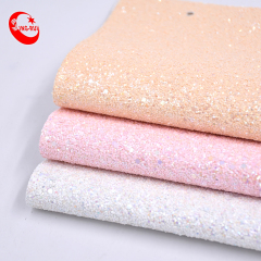 Chunky Holographic Colorful Reflective Embossed Glitter Fabric Wrinkle Resistant Pu Faux Leather Material For Shoes