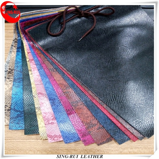 Printed Faux Leather Pattern PU Fabric Embossed Snake Skin Leather