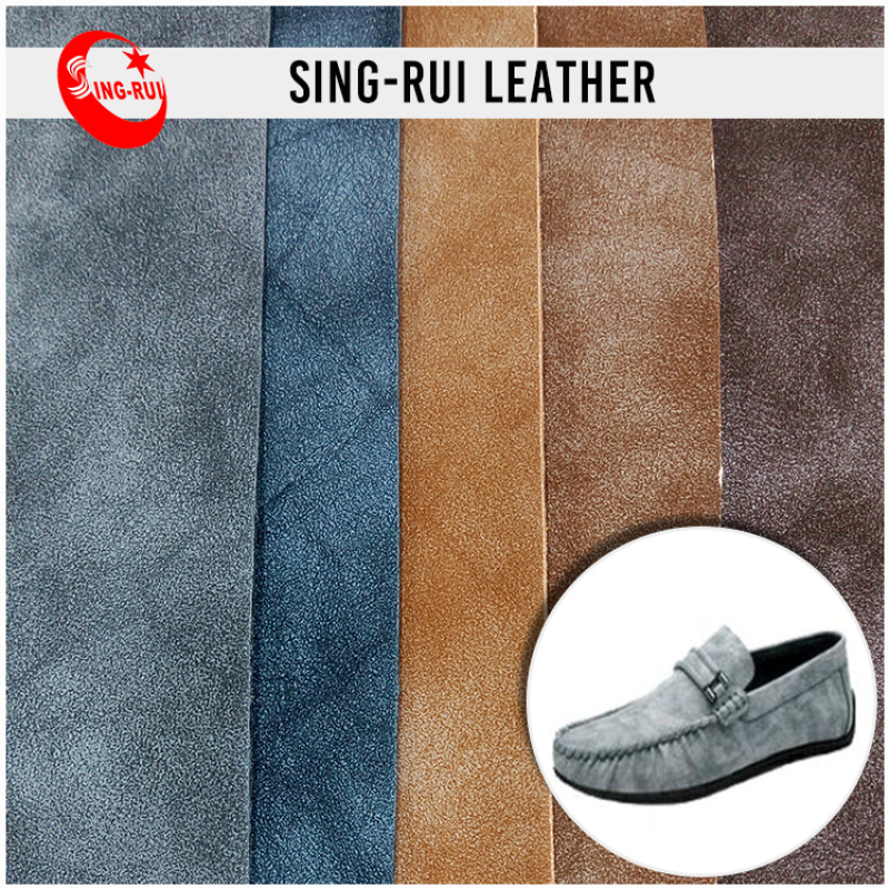Retro Soft Cow Leather Printed Backing PU Leather Exporter For Shoes