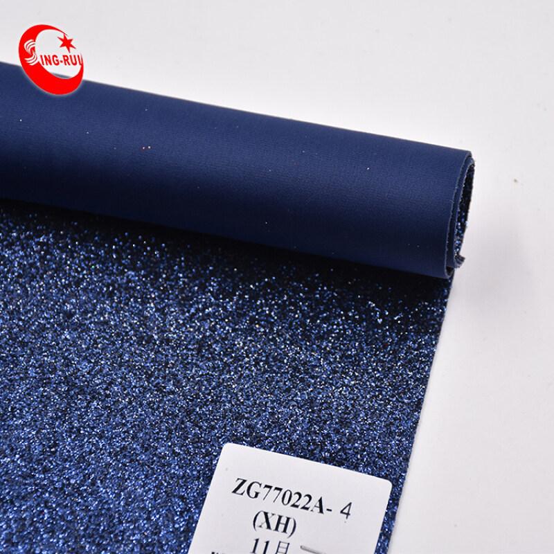 Blue PU Fabric Shiny Chunky Glitter Fabric PU Leather For Shoes