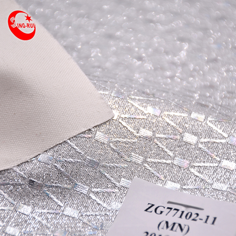 High-Fashion geometric pattern Glitter Sparkly Shiny Synthetic PU Faux Leather Fabric For Bags shoes bags decorat