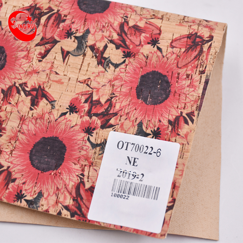 A4 Natural Flower Wood Cork Textile  Printed Leather Fabric Eco-Friendly Fabric Bag Wallet Shoes Meterial