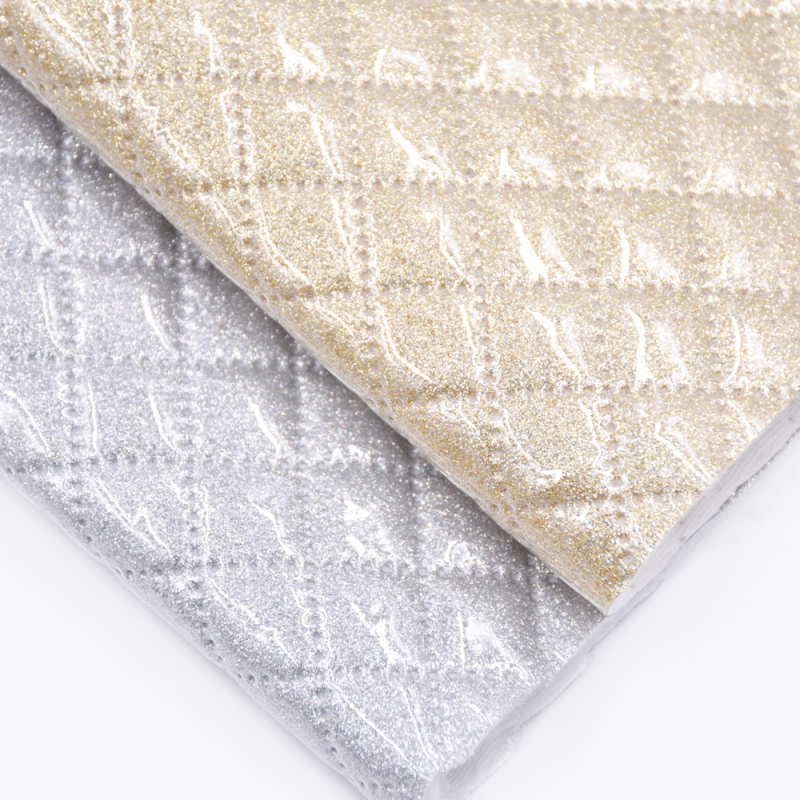 Imitation Suture Rhombus Metallic Printed Embossed Holographic Plastic Film Glitter Faux Pvc Leather Fabric For Shoes Snow Boots