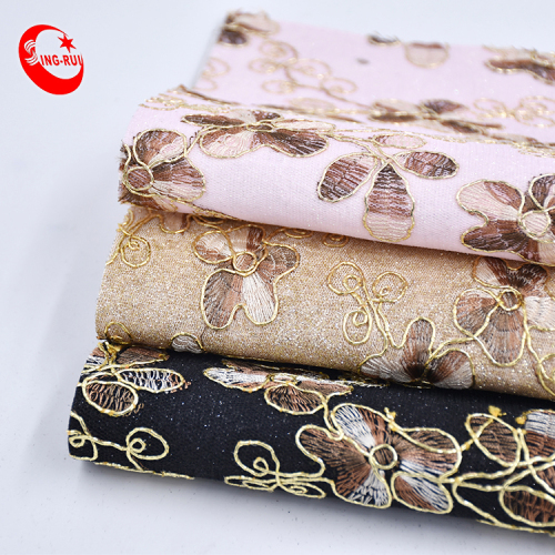 Luxurious Top Unique Golden Border Embroidery Floral Pattern Pink Glitter Faux Leather Fabric For Shoes Bags Decoration