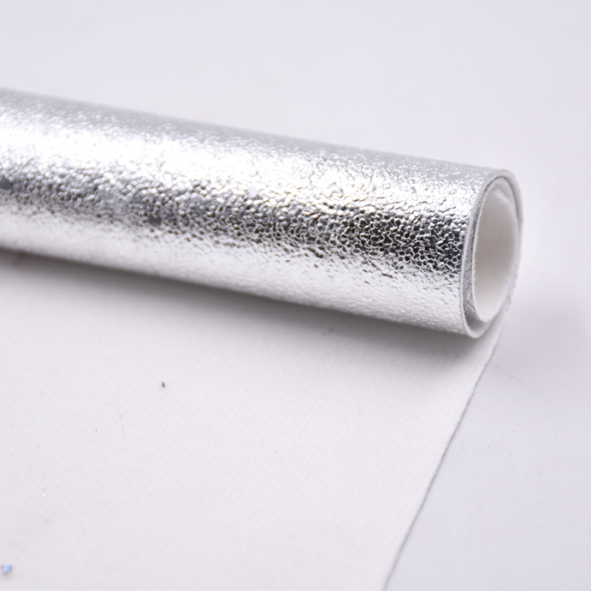 China Factory Metallic Shiny Foiled PU Leather for shoes for bag