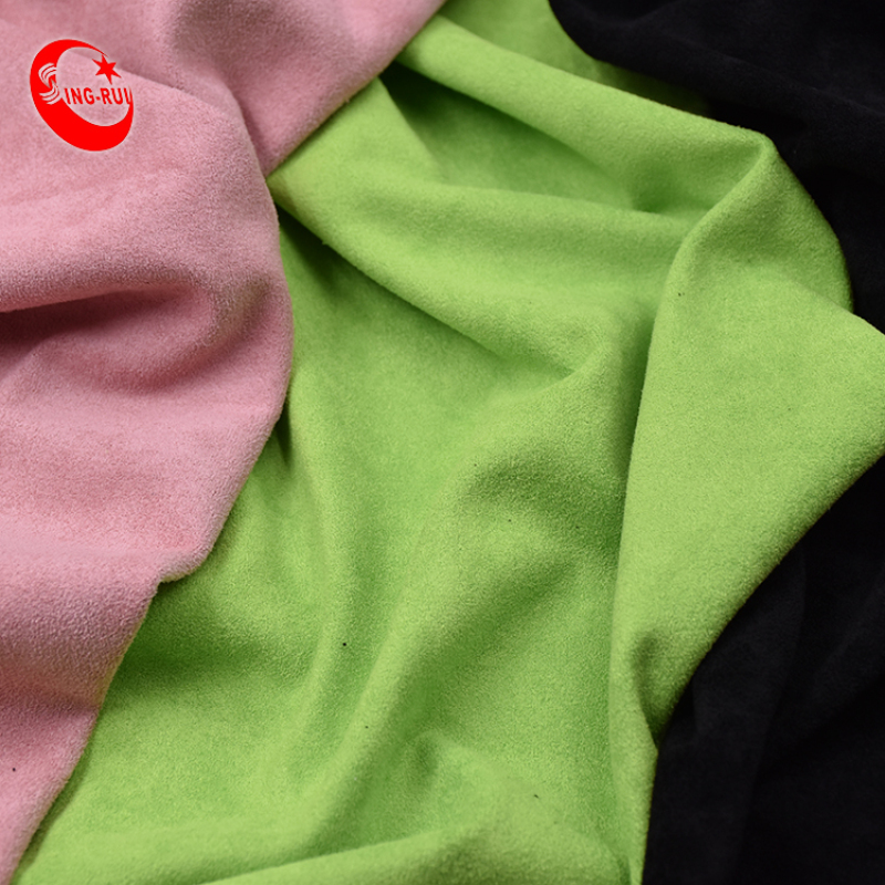 100% Polyester plain dyed textiles  thick stretch micro  suede fabric for shoes